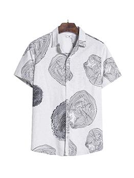 Vintage Contrast Color Print Shirts For Men