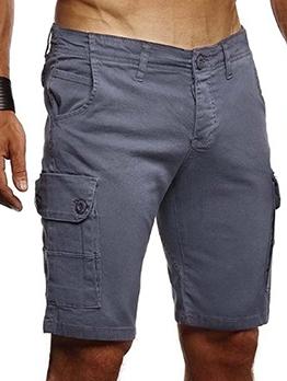 Casual Solid Short Cargo Pants Men