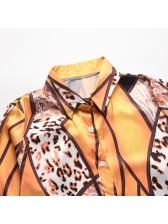 Contrast Color Leopard Patchwork Long Sleeve Blouse