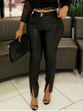 Black Split Hem Skinny Leather Pants