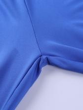 Letter Print Long Sleeve Split Hem Bodycon Jumpsuit