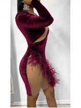Sexy One Sleeve Feather Patchwork Bodycon Dress