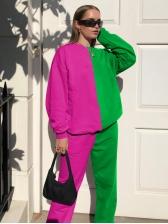 Casual Contrast Color 2 Piece Pants Set