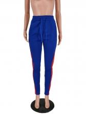 High Waist Contrast Color Track Pants
