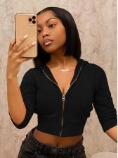 Hooded Collar Zipper Cropped Womens Coats