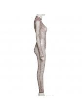 Breathable Printed Mock Neck Long Sleeve Jumpsuit