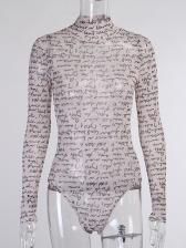 Printed Long Sleeve Bodysuit Two Piece Pants Set