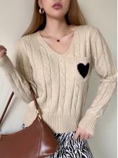 Heart Pattern Pockets Long Sleeve Ladies Sweater