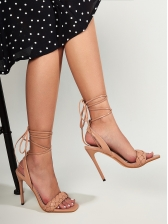 Euro Square Toe High Heel Lace Up Sandals