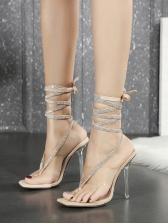 Stylish Flip Flop Rhinestone Lace Up Sandals