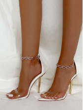 Metal Chain Strap Pointed Toe Summer Sandals