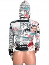 Newspaper Printed Graffiti Loose Hoodies For Women
