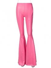 Sexy Pu Pink Flare Long Pants Women
