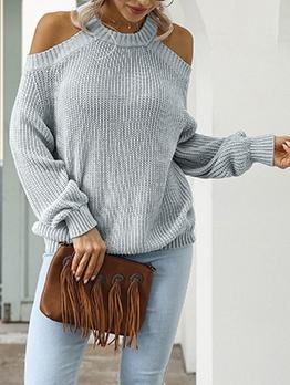 Fashion Cold Shoulder Crew Neck Sweater