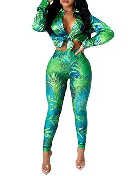 Sexy Digital Printing Two Piece Pants Set