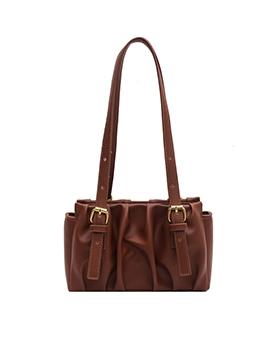 Chic Solid Color Draped Shoulder Bag