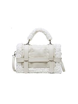 Large Capacity Lambswool Patchwork Square Shoulder Bag