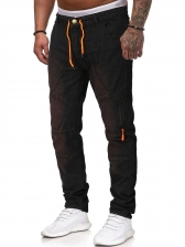 Drawstring Solid Color Denim Long Pants For Men