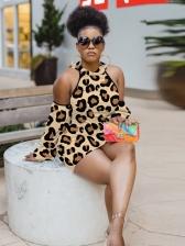 Cold Shoulder Leopard Print Dresses For Women