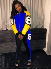 Sporty Contrast Color Zipper Two Piece Outfits