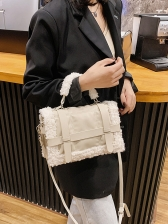 Large Capacity Lambswool Patchwork Square Shoulder Bag
