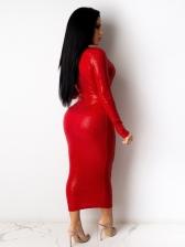Glitter Deep V Long Sleeve Plus Size Dresses