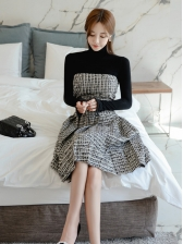 Elegant Turtle Top With Strapless Two Pieces Dress