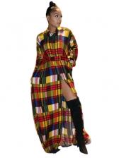 Contrast Color Plaid Vent Fall Maxi Dresses