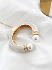 Vintage Faux-Pearl Geometry Rhinestone Bracelet