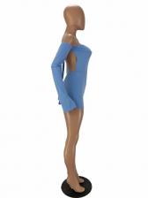 Backless Solid Long Sleeve Off Shoulder Rompers