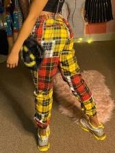 Fashion Contrast Color Plaid Long Pants