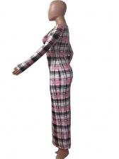 Autumn Plaid Long Sleeve Maxi Dress Casual