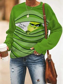 Print Leisure Green Sweatshirt For Women