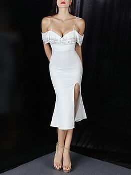Lady Style Elegant Solid Vent Formal Dresses