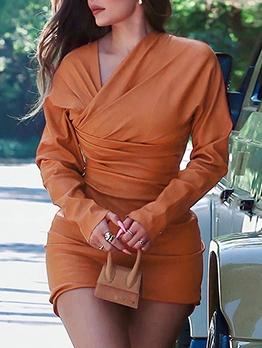 Chic Draped PU Long Sleeve Short Dress