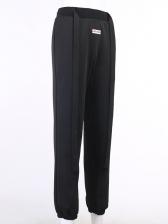 Letter Label Solid Color Wide Belted Pants For Women