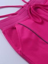 Fashion Reflective Stripe Letter Print Pants For Women