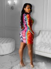 Rainbow Color Front Drawstring Long Sleeve Dress