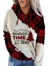 Christmas Tree Print Plaid Pullover Hoodie
