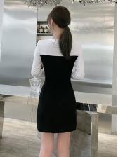 Fashion Color Block Long Sleeve Dress