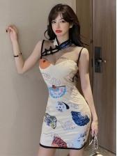 Vintage Gauze Patchwork Printed Sleeveless Bodycon Dress