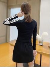 Casual Zipper Up Two Piece Skirt Set