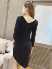 Elegant Solid Draped Irregular Hem Dresses For Women
