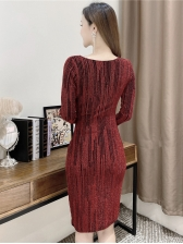 Graceful Front Twisted Long Sleeve Dresses For Women