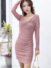 Trendy Front Twisted Off Shoulder Long Sleeve Dress