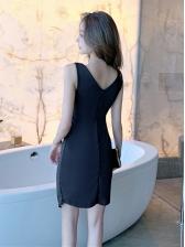 Seductive Low-Cut Ruffled Sleeveless Dress