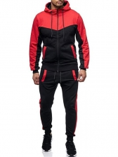 Stylish Color Block Hooded Mens Activewear
