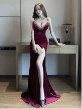 Sexy V Neck Camisole Floor Length Evening Dresses