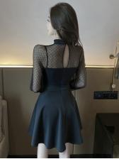 Gauze Perspective Black Long Sleeve Short Dress