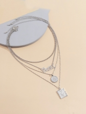Fashion Vintage Letter Layered Necklace Women